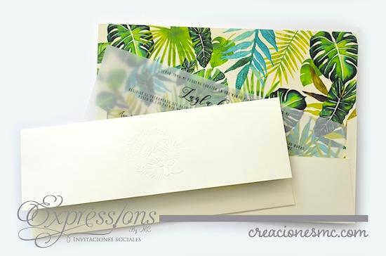 Expressions invitaciones bautizo diseño tropical - Invitaciones Bautizo y Comunión