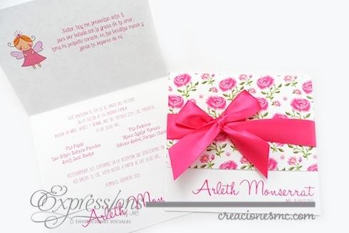 Expressions invitaciones bautizo mod. Flores - Invitaciones Bautizo y Comunión