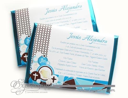 Expressions invitaciones primera comunión mod. chocolate jumbo - Invitaciones Bautizo y Comunión