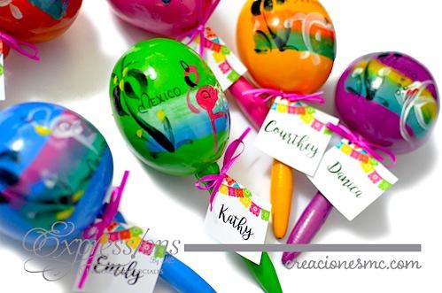 asignacion de lugar con maracas de colores bodas regionales o mexicanas expressions invitaciones - Complementos de tarjetería