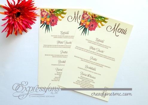 complementos de tarjetería expressions invitaciones menu tropical - Complementos de tarjetería