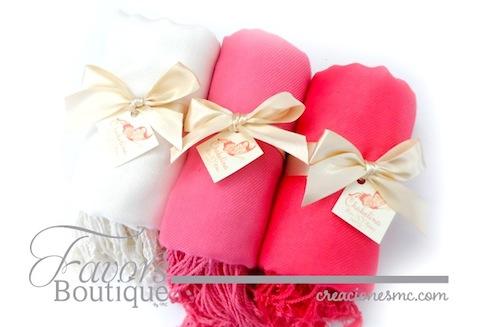 creaciones mc recuerdos boda pashmina rosa coral y beige - Variados