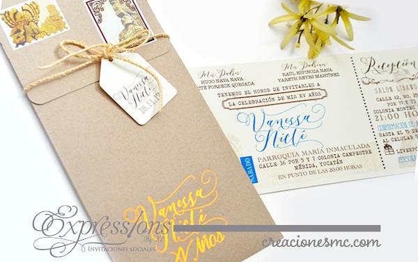 expressions invitaciones xv años diseño ticket - Invitaciones XV Años