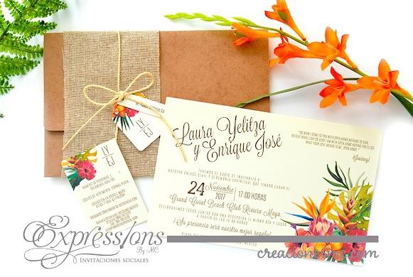invitacion tropical floral expressions - Invitaciones Boda
