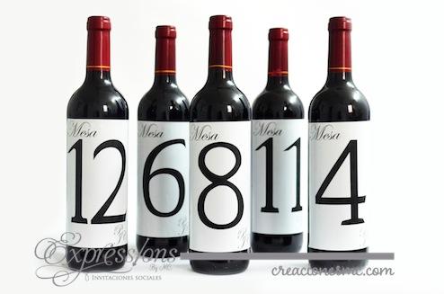 complementos de tarjetería expressions invitaciones no. de mesa en botella de vino - Complementos de tarjetería