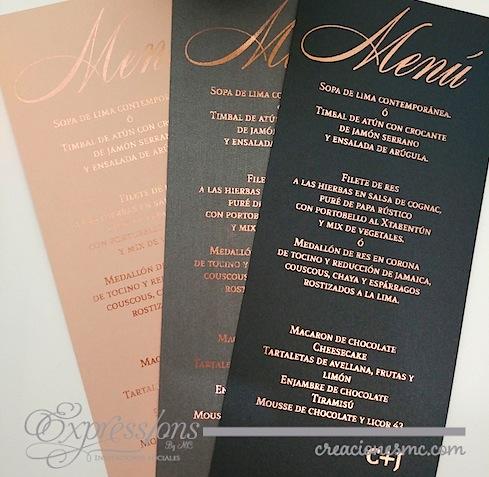 complementos de tarjetería expressions invitaciones menu foil oro rosa - Complementos de tarjetería