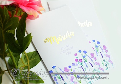 expressions invitaciones misales xv años foil dorado - Complementos de tarjetería