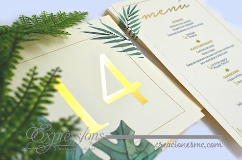 expressions invitaciones numero de mesa con foil gold - Complementos de tarjetería