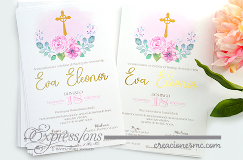 expressions invitaciones bautizo y comunion modelo Eva - Invitaciones Bautizo y Comunión