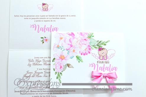 expressions invitaciones bautizo y comunion modelo floral - Invitaciones Bautizo y Comunión