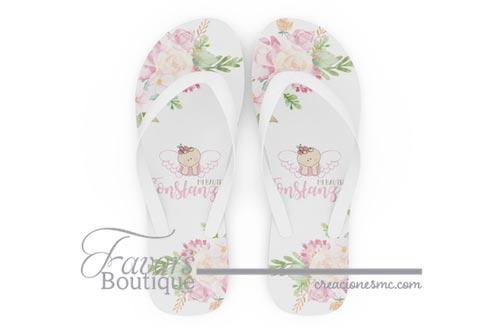 creaciones mc sandalias personalizadas bautizo angelita a todo color - Sandalias