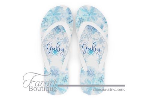 creaciones mc sandalias personalizadas xv años copos de nieve a todo color - Sandalias