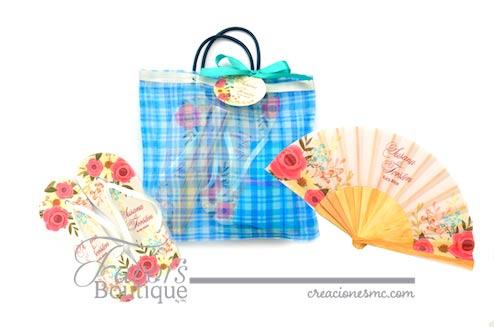 creaciones mc recuerdos boda bolsa con abanico y sandalias impresas - Recuerdos Boda