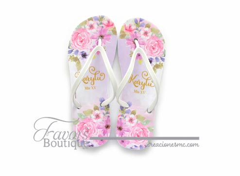 creaciones mc sandalias a todo color xv años lila floral - Sandalias
