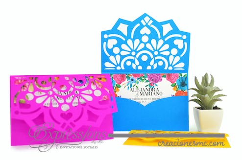 expressions invitaciones papel picado mexicano para boda - Invitaciones Boda