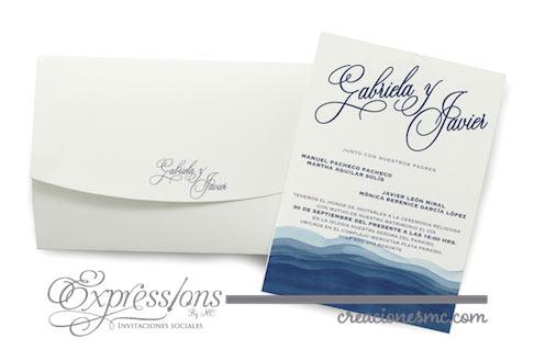 expressions invitaciones boda grabriela y javier acuarela - Invitaciones Boda