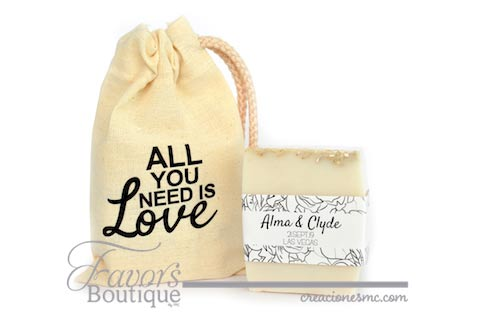 creaciones mc recuerdos boda jabón artesanal con bolsa - Recuerdos Boda