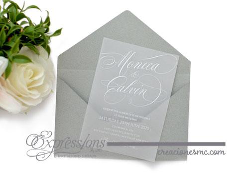 expressions invitaciones boda mod. Monica y galvin gris - Invitaciones Boda