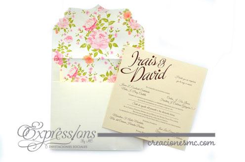 expressions invitaciones boda modelo Irais y David - Invitaciones Boda