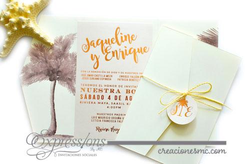 expressions invitaciones mod. jaqueline y enrique - Invitaciones Boda