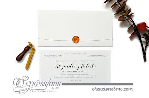 invitaciones sobre lacre cobre mod alejandra y roberto - Invitaciones Boda