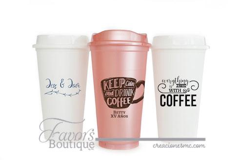 creaciones mc recuerdos vasos para cafe oro rosa y blanco - Recuerdos Boda