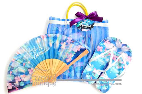 creaciones mc bolsa con sandalias y abanico para boda - Recuerdos Boda