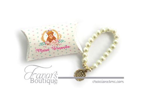 creaciones mc recuerdos bautizo pulseras de perlas en caja - Recuerdos Baby Shower