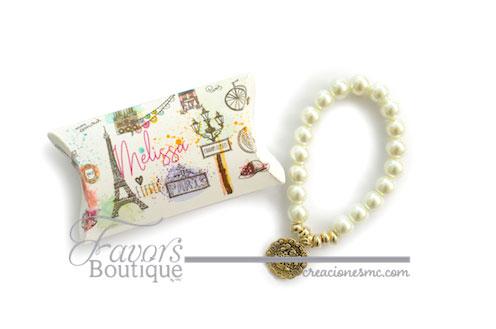 creaciones mc recuerdos xv años pulseras de perlas en caja - Recuerdos XV Años